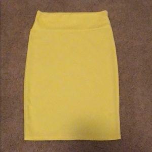Lularoe Bright Yellow Cassie Skirt Size Small